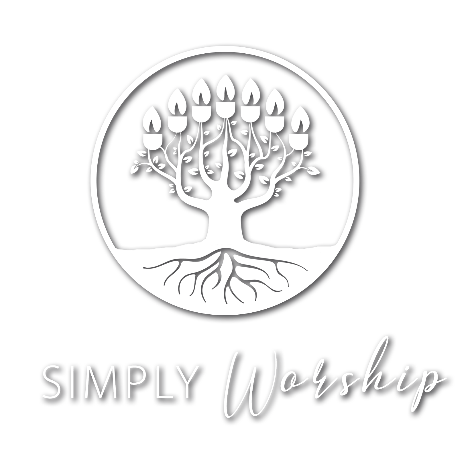 Simply Worship white logo with words